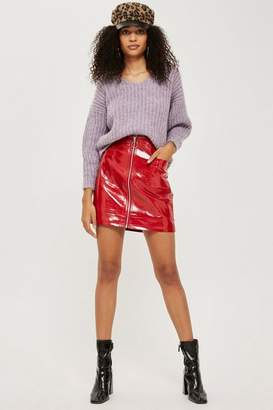 Topshop Tall Cracked Vinyl Zip Mini Skirt