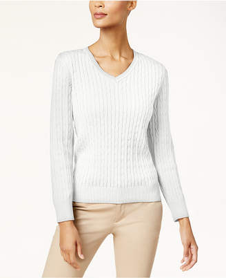 Karen Scott Cotton V-Neck Cable-Knit Sweater
