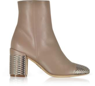 Rodo Taupe and Silver Woven Leather Heel Booties
