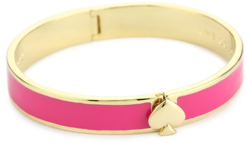 "Kate Spade New York ""Live Colorfully"" Hinge Pink Spade Bangle Bracelet"