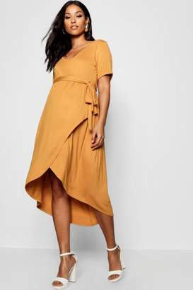boohoo Maternity Wrap Front Belted T Shirt Dress