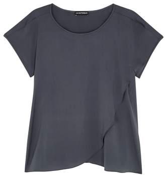 Emporio Armani Grey Wrap-effect Stretch Silk Top