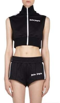 Palm Angels Cropped Zip-Front Track Vest