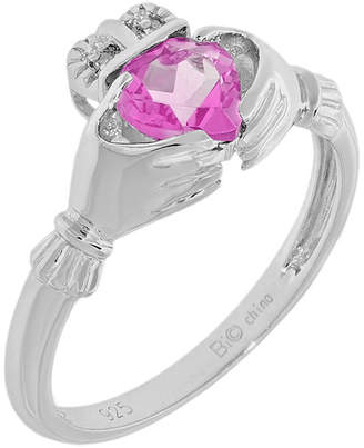 FINE JEWELRY Heart-Shaped Lab-Created Pink Sapphire and Diamond-Accent Sterling Silver Claddagh Ring