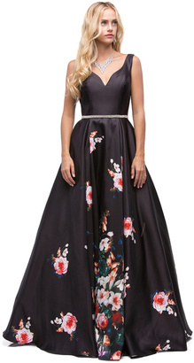 Dancing Queen Attractive Long V-Neck Floral Print Prom Dress $239 thestylecure.com