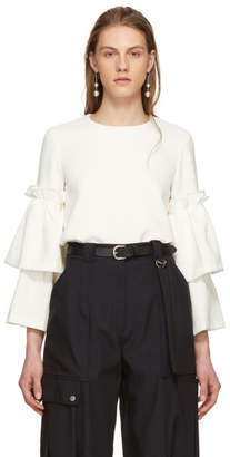 Edit Off-White Tiered Sleeve Swing Blouse