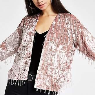 River Island Light pink fringe trophy jacket
