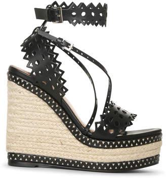 Alaia Black leather wedge espadrille sandals