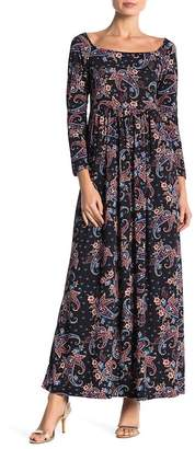 24/7 Comfort Paisley Empire Waist Long Sleeve Maxi Dress