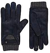 Christophe Fenwick Men's Le Mans Cashmere-Lined Leather Driving Gloves - Navy