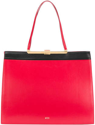No.21 contrast lined square-shaped tote bag