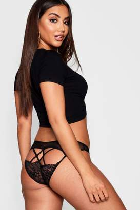 boohoo Cross Back Fishnet Diamante Bow Brief