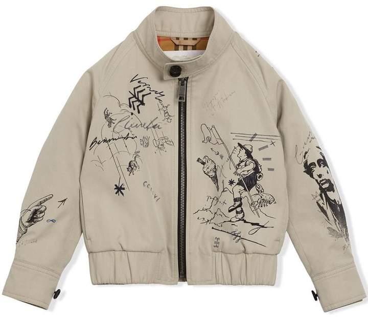 Adventure Print Gabardine Harrington Jacket