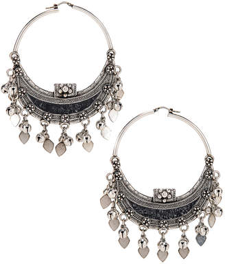 Saint Laurent Oversized Demi Lune Earrings in Oxidized Silver & Black | FWRD