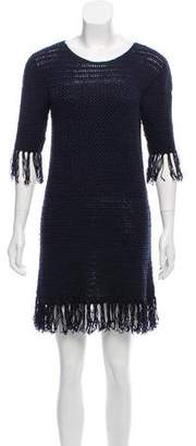 Elizabeth and James Fringe-Accented Crochet Dress