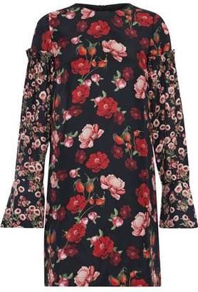 Mother of Pearl Ruffle-Trimmed Floral-Print Silk-Satin Mini Dress
