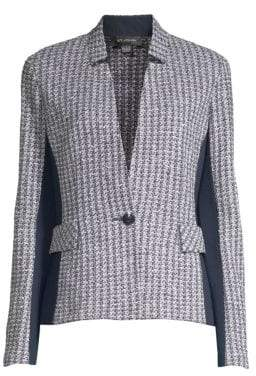 St. John Women's Contrast Geometric Knit Blazer - Grey Navy - Size 0