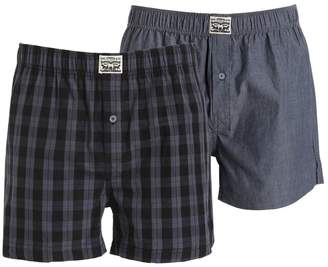 2 Pack Plaid & Chambray Cotton Boxers