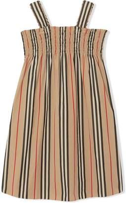 Burberry Smocked Icon Stripe Cotton Dress