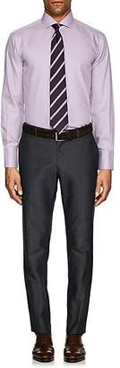 Barneys New York MEN'S PRINCE OF WALES CHECKED COTTON POPLIN DRESS SHIRT - VIOLET SIZE 17.5 L