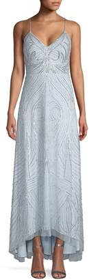 Aidan Mattox Swirl Pattern Beaded Gown