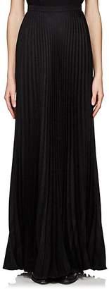 Saint Laurent Women's Pleated Silk Maxi Skirt - Black