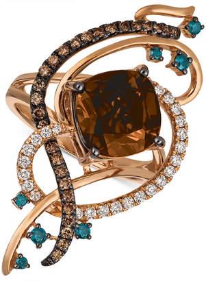 LeVian Le Vian Exotics® Crazy Collection® Chocolate Quartz® (3-3/4 ct. t.w.) & Diamond (3/4 ct. t.w.) Statement Ring in 14k Rose Gold