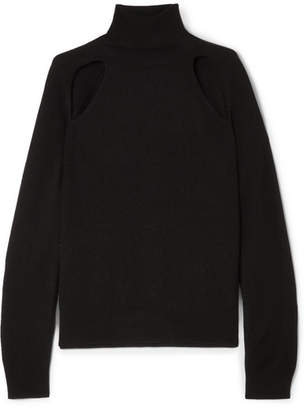 L'Agence Philo Cutout Wool And Cashmere-blend Turtleneck Sweater - Black