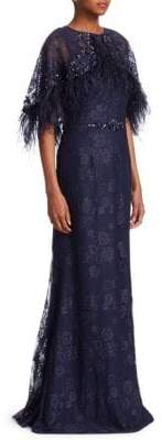 Teri Jon by Rickie Freeman Popover Feather Mermaid Gown