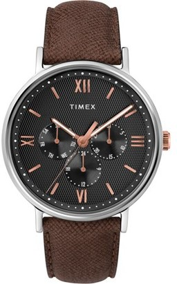 Timex Men's Southview 41 Multifunction Brown/Black/Rose Gold Watch, Leather Strap