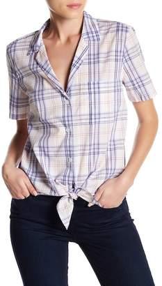 Equipment Keira Plaid Short Sleeve Tie-Front Button Down Shirt