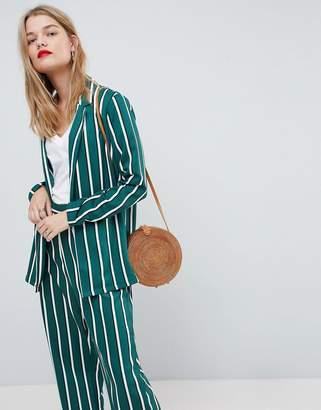 Asos Design Soft Blazer In Green Stripe