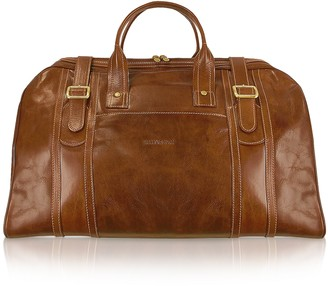 Chiarugi Handmade Brown Genuine Italian Leather Duffle Travel Bag
