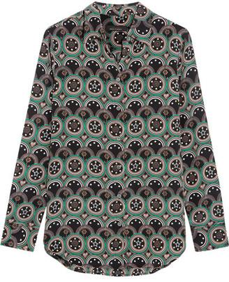 Kate Moss for Equipment - Slim Signature Printed Washed-silk Shirt - Dark gray