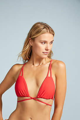 Red Carter Triangle Wrap Bikini Top