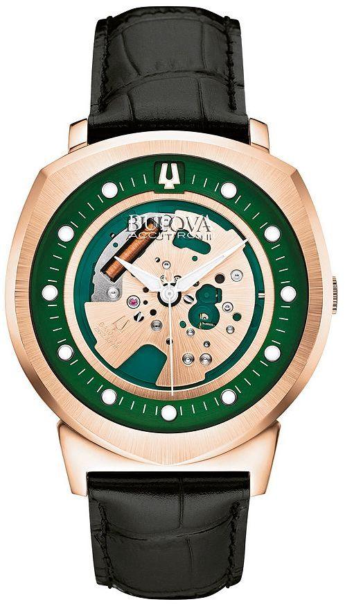 Bulova Men's Alpha Accutron II Leather Skeleton Watch - 97A122