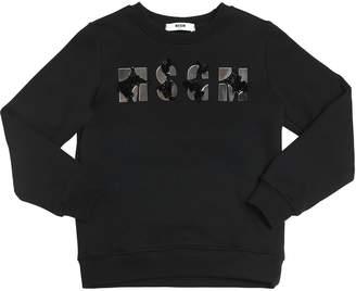 MSGM Mirrors Embellished Cotton Sweatshirt