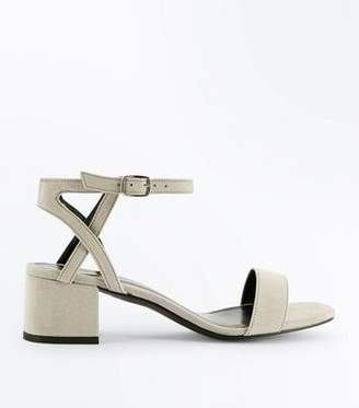 New Look Girls Grey Suedette Block Heel Sandals