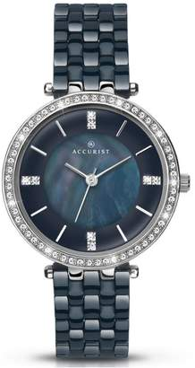 Accurist Dark Blue Diamond Set Dial with Dark Blue Ceramic Bracelet Ladies Watch