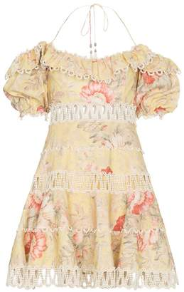 Zimmermann Jaya wave bodice halterneck cotton linen-blend dress