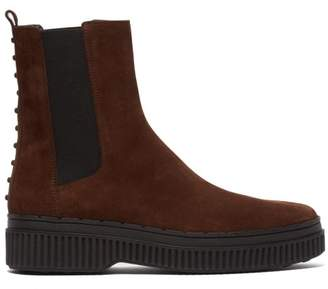 Tod's Suede Gommini Chelsea Ankle Boots - Womens - Dark Brown
