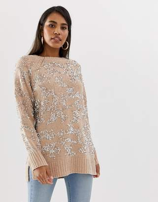 French Connection embellished raglan sleeve sweater