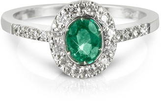 Forzieri Emerald and Diamond 18K White Gold Ring