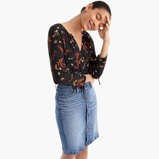 J.Crew Point Sur drapey open V-neck top in floral