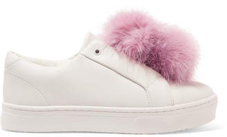 Sam Edelman - Leya Faux Fur-trimmed Leather Slip-on Sneakers - White $100 thestylecure.com