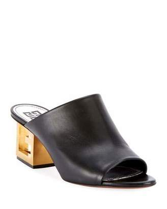 Givenchy Leather Sandals with Logo Heel