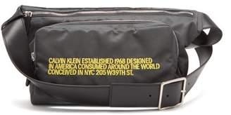 Calvin Klein Embroidered Leather Trimmed Shell Belt Bag - Mens - Grey Multi