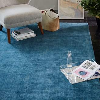 west elm Hand-Loomed Shine Rug - Blue Lagoon