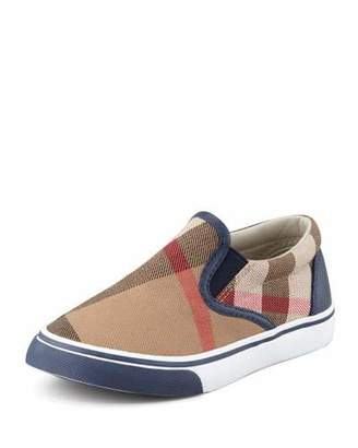 Burberry Navy Check Slip-On Sneakers, Toddler/Youth Sizes 12T-4Y