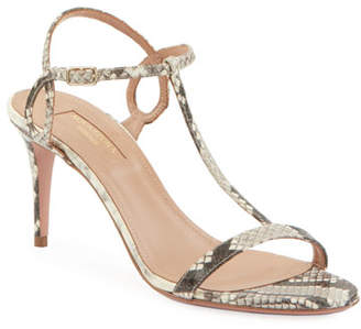 Aquazzura Almost Bare Embossed Leather Sandals